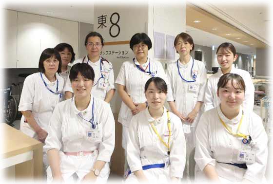 東8病棟(消化管内科・外科・血管外科・乳腺外科・臨床腫瘍科・皮膚科・形成外科)の集合写真