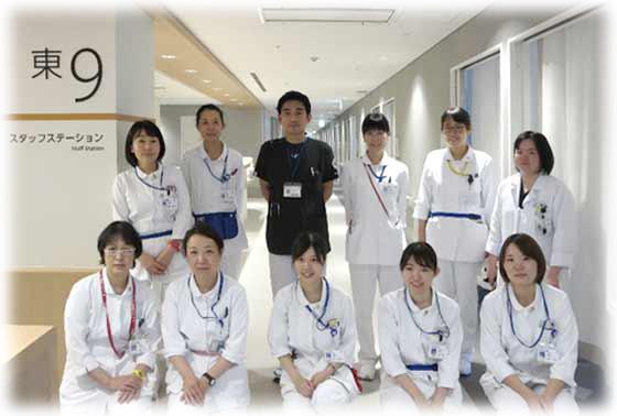 東9病棟(呼吸器内科・呼吸器外科・臨床腫瘍科・救急部・感染症病床)の集合写真