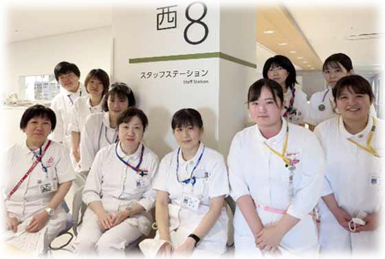 西8病棟(肝胆膵内科・整形外科)の集合写真